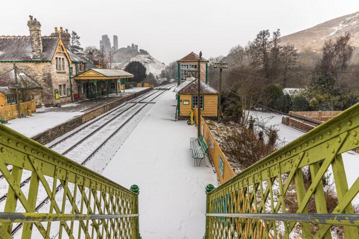 Snowy Tracks Corfe Castle