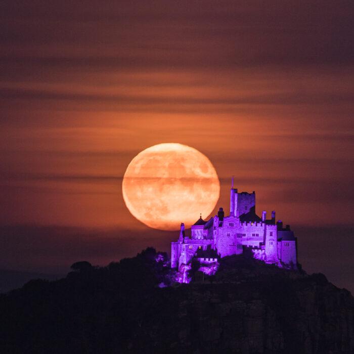Harvest Moon Rising Over St Michaels Mount